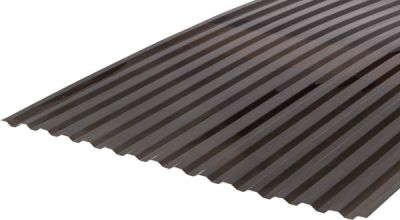 Градостійкий профільований монолітний полікарбонат BauGlas (Сербія) 2УФ Преміум 0.8 мм 1050 х 4000 мм сіра бронза, кв.м
