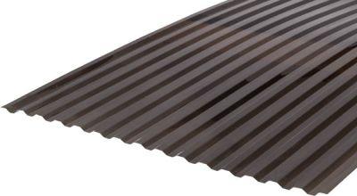 Градостійкий профільований монолітний полікарбонат BauGlas (Сербія) 2УФ Преміум 0.8 мм 1050 х 2000 мм сіра бронза, кв.м