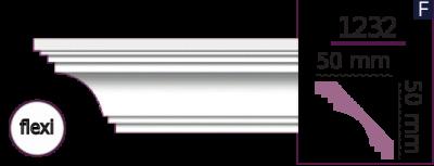Карниз стельовий гладкий 1232 (2.44м) Flexi Home Decor ліпний декор з поліуретану