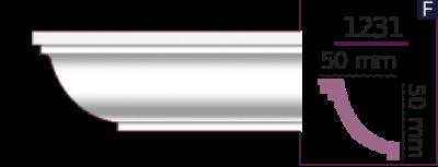Карниз стельовий гладкий 1231 (2.44м) Home Decor ліпний декор з поліуретану