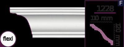 Карниз стельовий гладкий 1228 (2.44м) Flexi Home Decor ліпний декор з поліуретану