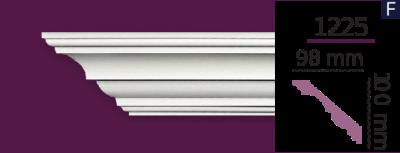 Карниз стельовий гладкий 1225 (2.44м) Home Decor ліпний декор з поліуретану