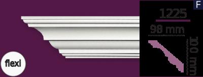 Карниз стельовий гладкий 1225 (2.44м) Flexi Home Decor ліпний декор з поліуретану
