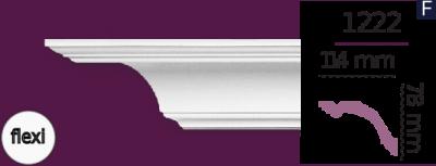 Карниз стельовий гладкий 1222 (2.44м) Flexi Home Decor ліпний декор з поліуретану