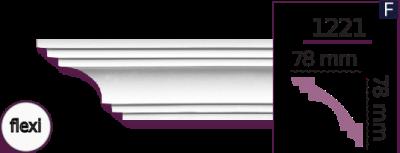 Карниз стельовий гладкий 1221 (2.44м) Flexi Home Decor ліпний декор з поліуретану