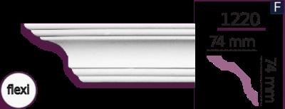 Карниз стельовий гладкий 1220 (2.44м) Flexi Home Decor ліпний декор з поліуретану