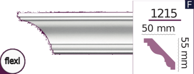 Карниз стельовий гладкий 1215 (2.44м) Flexi Home Decor ліпний декор з поліуретану