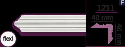 Карниз стельовий гладкий 1211 (2.44м) Flexi Home Decor ліпний декор з поліуретану