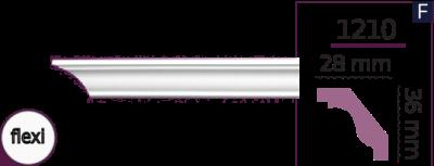 Карниз стельовий гладкий 1210 (2.44м) Flexi Home Decor ліпний декор з поліуретану
