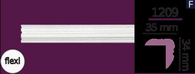 Карниз стельовий гладкий 1209  (2.44м) Flexi Home Decor ліпний декор з поліуретану