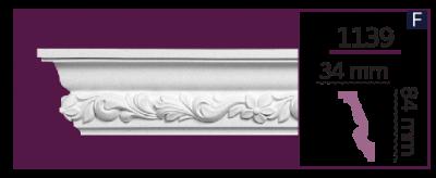 Карниз потолочный с орнаментом 1139 (2.44м) Home Decor, лепной декор из полиуретана