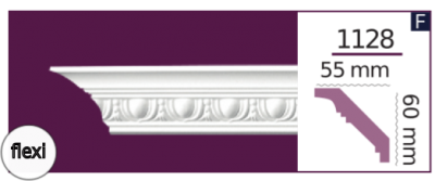 Карниз потолочный с орнаментом 1128 (2.44м) Flexi Home Decor, лепной декор из полиуретана