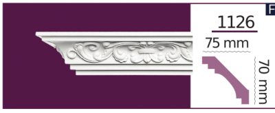 Карниз потолочный с орнаментом 1126 (2.44м) Home Decor, лепной декор из полиуретана