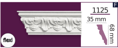 Карниз потолочный с орнаментом 1125 (2.44м) Flexi Home Decor, лепной декор из полиуретана