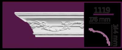 Карниз потолочный с орнаментом 1119 (2.44м) Home Decor, лепной декор из полиуретана