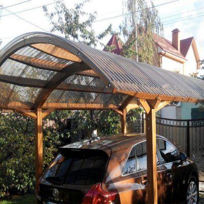 автомобільний вигнутий дерев'яний навіс монолітний профільований гофрований полікарбонат