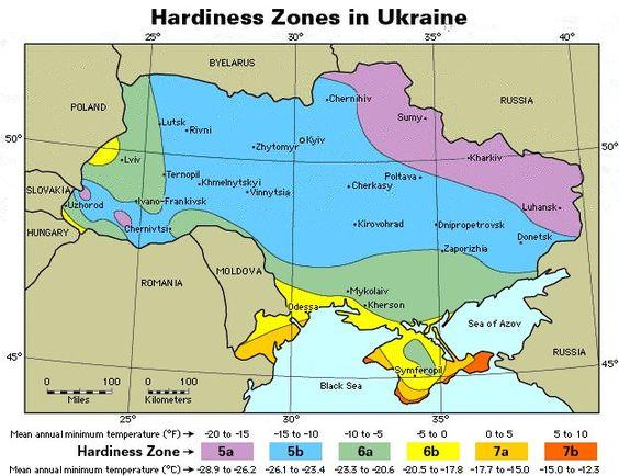 Зони Зимостійкості Украіни - Зоны Зимостойкости Украины
